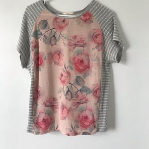 Rose striped tee